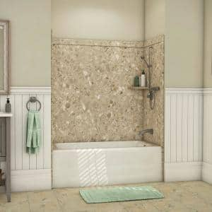 Elite 32 in. x 60 in. x 60 in. 9-Piece Easy Up Adhesive Alcove Tub Surround in Petrafini