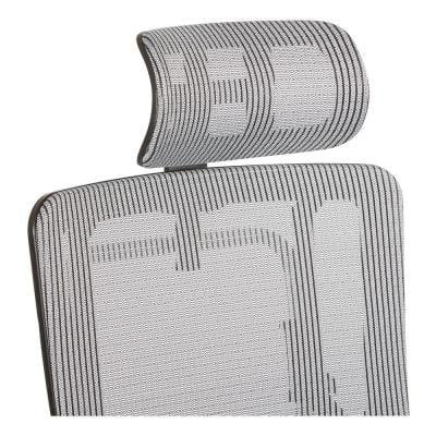 Breathable Vertical Silver Headrest with Steel/Gray Mesh
