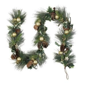 6 ft. L Unlit Needle Pine with Winter Foliage and Stars Christmas Garland