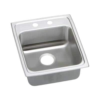 Lustertone Drop-In Stainless Steel 17 in. 2-Hole Single Bowl ADA Compliant Kitchen Sink with 6 in. Bowl