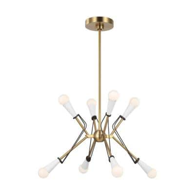 ED Ellen DeGeneres Piro 8-Light Burnished Brass Medium Mid-Century Modern Hanging Sputnik Chandelier