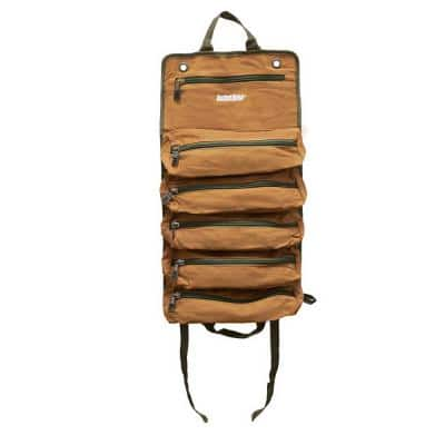 27 in. 6 Zippered Pockets Super Tool Roll in Brown