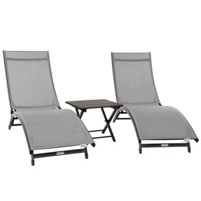 Coral Springs Silver Frame Aluminum Light Grey 3-Piece Outdoor Sling Chaise Lounge Chair Set with and Table
