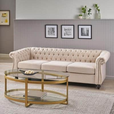 Parksley 84.75 in. Beige Solid Fabric 3-Seat Chesterfield Sofa with Removable Cushions