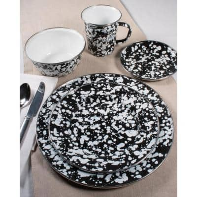 Black Swirl Enamelware 4 qt. Round Porcelain-Coated Steel Dutch Oven with Lid