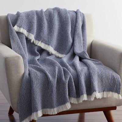 Ellington Navy Cotton Throw Blanket