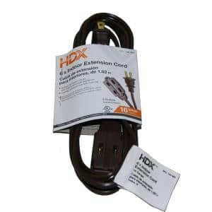 6 ft. 16/2 Indoor Cube Tap Extension Cord, Brown