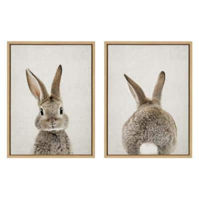 """Sylvie """"Bunny Portrait and Bunny Tail"""" by Amy Peterson Framed Canvas Wall Art Set 18 in. x 24 in."""