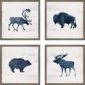 Wild Watercolor - Set of 4-Framed Giclee Animal Art Print 18 in. x 18 in. each
