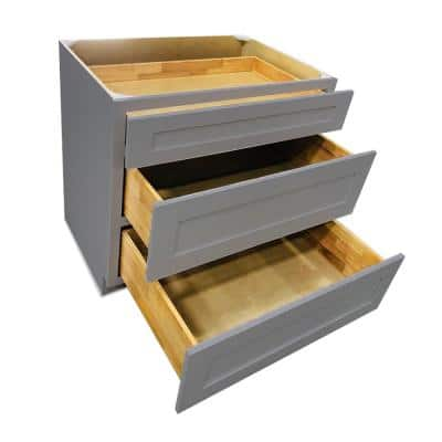 Modern Grey Plywood Shaker Stock Ready to Assemble Drawer Base Kitchen Cabinet 24 in. W x 34.5 in. D H x 24 in. D