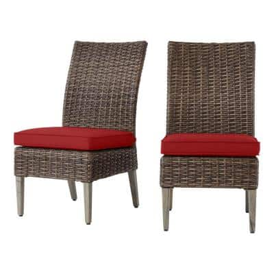 Rock Cliff Brown Stationary Wicker Outdoor Patio Armless Dining Chair with CushionGuard Chili Red Cushions (2-Pack)