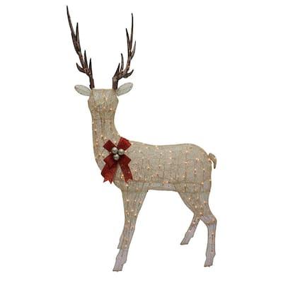 86 in. Christmas Champange Gold Lighted Standing Elk Yard Art