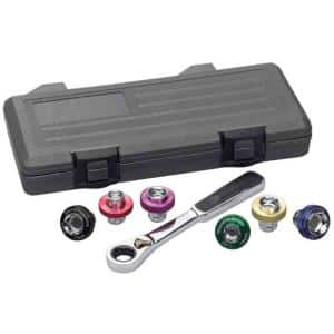 3/8 in. Drive 6-Point Magnetic Oil Drain Plug Ratchet and Metric Socket Set (7-Piece)