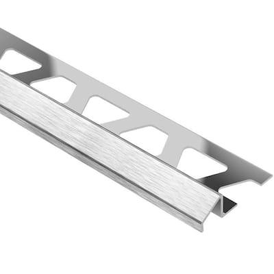 Reno-U Brushed Stainless Steel 7/16 in. x 8 ft. 2-1/2 in. Metal Reducer Tile Edging Trim
