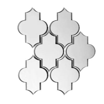 Reflections Silver Small Lantern Arabesque Mosaic 4 in. x 6 in. Glass Mirror Mesh Mounted Wall Tile (0.51 Sq. ft.)