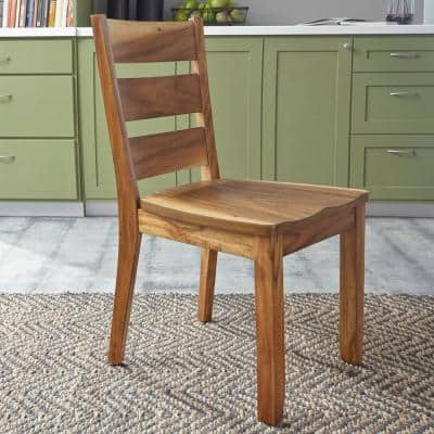 Forest Retreat Live Teak Wood Brown Side Chairs (Set of 2)