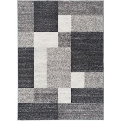 Modern Boxes Design Non-Slip (Non-Skid) Gray 6 ft. 6 in. x 9 ft. Area Rug