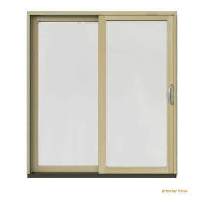 Jeld Wen 72 In X 80 In W 2500 Contemporary Black Clad Wood Left Hand Full Lite Sliding Patio Door W Unfinished Interior Jw2201 01191 The Home Depot