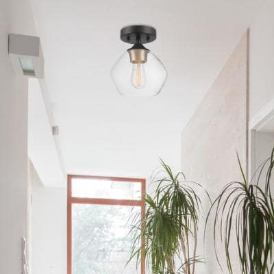 Harrow 1-Light Matte Black Semi-Flush Mount Ceiling Light with Gold Accent Socket and Clear Glass Shade