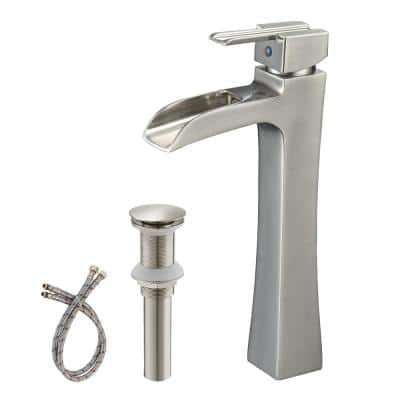 Waterfall Single Hole Single-Handle Vessel Bathroom Faucet with Pop Up Drain without Overflow in Nickel