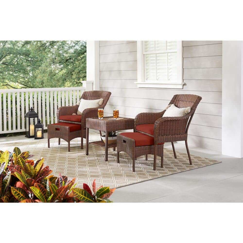 Hampton Bay Cambridge 5 Piece Brown Wicker Outdoor Patio Conversation Seating Set With Sunbrella Henna Red Cushions H172 01510100 The Home Depot