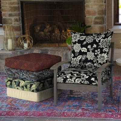 22 in. x 19 in. Ashland Jacobean 2-Piece Deep Seating Outdoor Lounge Chair Cushion