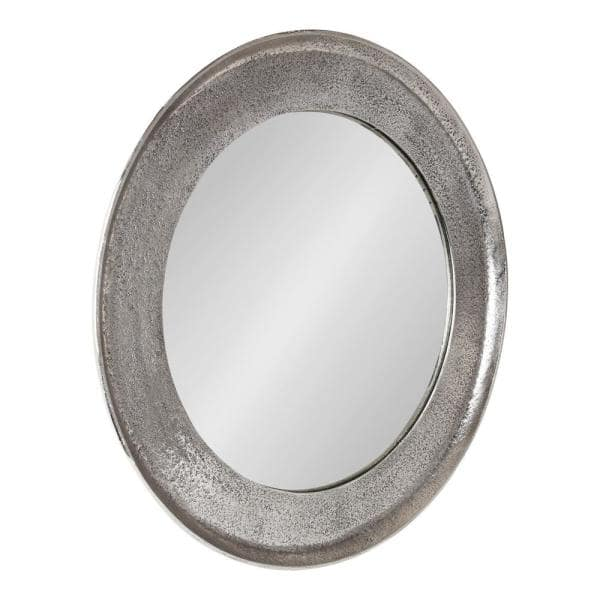 Kate And Laurel Xylon 25 In X, Round Silver Wall Mirror Metal