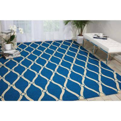Portico Navy Blue 8 ft. x 11 ft. Geometric Modern Indoor/Outdoor Area Rug