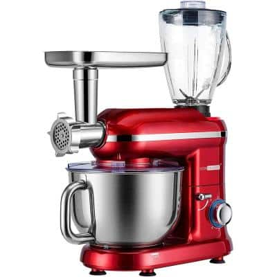 6 qt. 6- speed Red 3 in 1 Multifunctional Stand Mixer with Meat Grinder and Juice Blender, ETL Listed