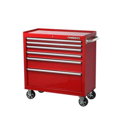 36 in. 6-Drawer Roller Cabinet Tool Chest in Red