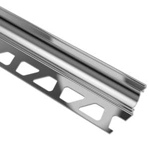 Dilex-AHK Polished Chrome Anodized Aluminum 1/2 in. x 8 ft. 2-1/2 in. Metal Cove-Shaped Tile Edging Trim