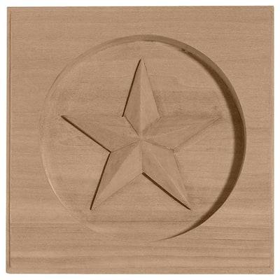 5/8 in. x 3-1/2 in. x 3-1/2 in. Unfinished Wood Alder Austin Star Rosette