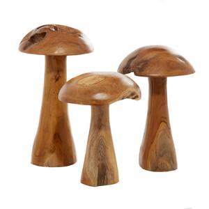 15.85 in. Mushroom Teak Wood Sculpture (Set of 3)