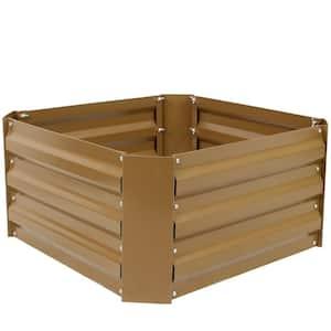 24 in. Square Brown Galvanized Steel Raised Garden Bed