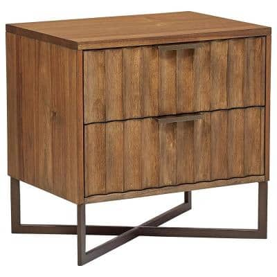 2-Drawer 24 in. H x 24 in. W Modern Nightstand in Butterscotch Finish