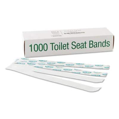Sani/Shield Printed Toilet Seat Band, Blue/White, 16x1-1/2 (1000-Count)