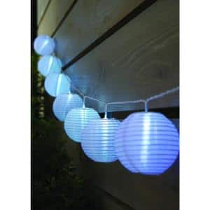 Outdoor/Indoor 7 ft. 10-Light Battery Powered Paper Lantern Mini Bulb LED String Light (Multi-Color)