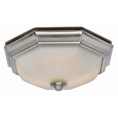 Huntley Decorative Brushed Nickel Medium Room Size 80 CFM 2 Sone Ceiling Bathroom Exhaust Fan with LED Light