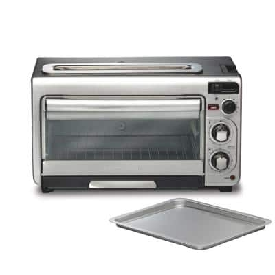 2 in 1 1450 W 4-Slice Silver Toaster Oven with 2-Slice Toaster Slots