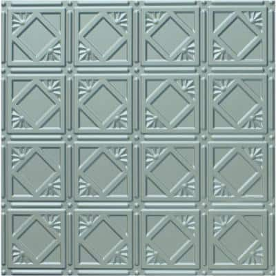 Dimensions 2 ft. x 2 ft. Nickel Tin Ceiling Tile for Refacing in T-Grid Systems