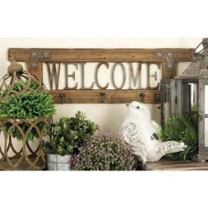 10 in. x 32 in. Brown Wood Farmhouse Wall Hook