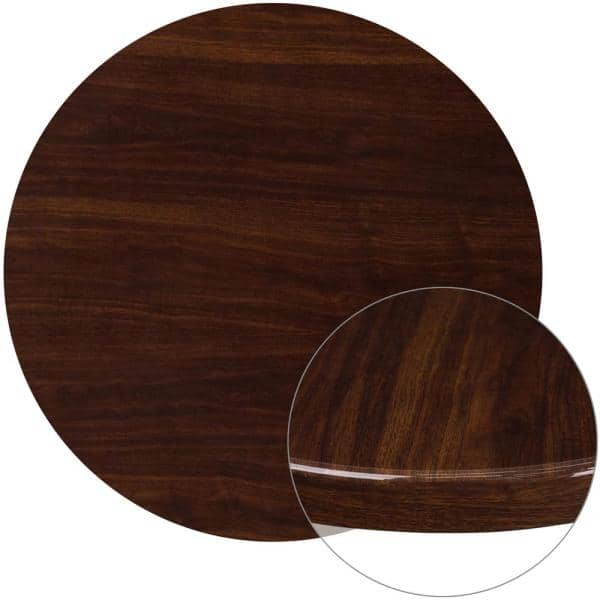 Round High Gloss Walnut Resin Table Top, Round Table Tops Home Depot
