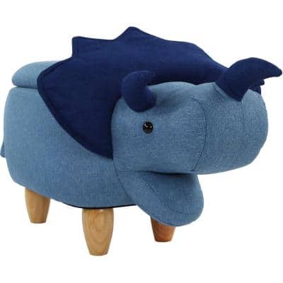 Triceratops Blue with Storage Ottoman with Storage