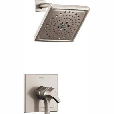 Zura 1-Handle Shower Faucet Trim Kit with H2Okinetic Spray in Stainless (Valve Not Included)