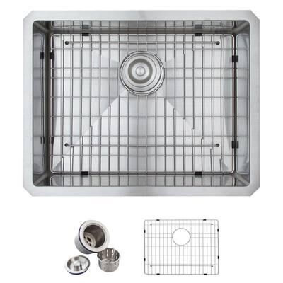 Undermount Stainless Steel 23 in. Single Bowl Kitchen Sink Kit in Satin