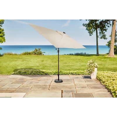 10 ft. x 6 ft. Aluminum Solar Outdoor Patio Umbrella in Cafe Tan