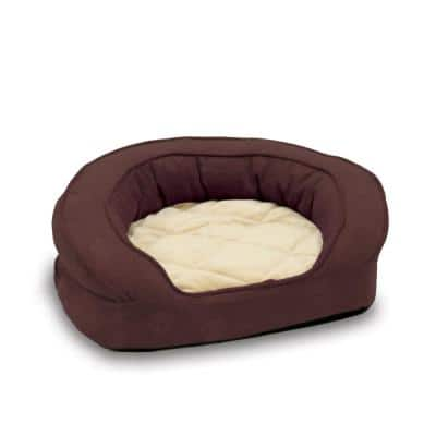 Deluxe Ortho Bolster Medium Eggplant Paw Print Sleeper Dog Bed