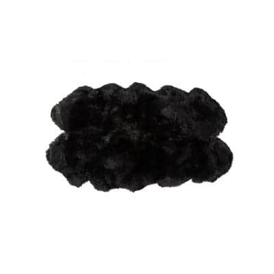 Josephine Black 4 ft. x 6 ft. Specialty Sheepskin Area Rug