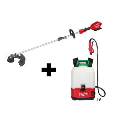 M18 18-Volt Lithium-Ion Cordless Switch Tank Backpack Pesticide Sprayer and FUEL QUIK-LOK String Grass Trimmer Combo Kit