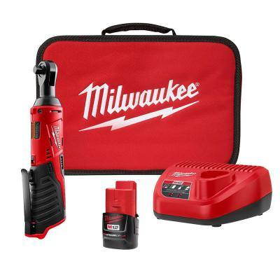 M12 12-Volt 3/8 in. Lithium-Ion Cordless Ratchet Kit with 1.5 Ah Battery Charger and Tool Bag